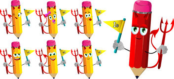 Set of happy devil pencils sports fan with flag Royalty Free Stock Images