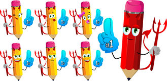 Set of happy devil pencils sports fan with glove Stock Images