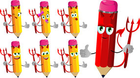 Set of happy devil pencils with thumb up Stock Photography