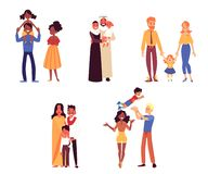 Set of happy diverse ethnicity and race families with child cartoon style. Vector illustration isolated on white background. Couples of mothers and fathers royalty free illustration