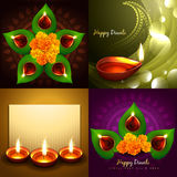 Set of happy diwali diya background illustration Royalty Free Stock Images