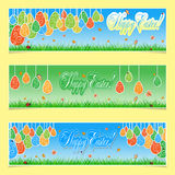 Set of 3 Happy Easter Banners Stock Photos