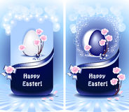 Set Happy Easter in blue color Stock Photography