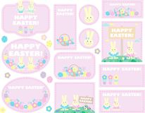 Tags with easter eggs, rabbits Royalty Free Stock Photo