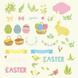 Set of Happy Easter design elements eggs, ribbons, frames, floral. Royalty Free Stock Images