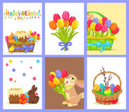 Set of Happy Easter with Flowers and Sweet Dessert. Set of happy easter on six icons. Colored eggs, willow branch, green grass in brown basket. Vector Royalty Free Stock Images