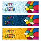 Set Happy Easter flyer. Three Easter festive flyer design Stock Photo