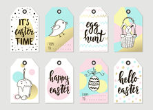 Set with happy easter gift tags and cards with easter bunny stock set with happy easter gift tags and cards with calligraphy handwritten lettering hand drawn negle Image collections