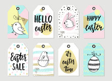 Set with happy easter gift tags and cards with easter bunny stock set with happy easter gift tags and cards with calligraphy handwritten lettering hand drawn negle Choice Image