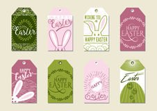 Set of Happy Easter Gift Tags. For presents and gifts. Easter cards set. Happy Easter tags. Easter backgrounds. Easter sunday. Easter hand lettering Stock Photo