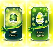 Set Happy Easter in green color Royalty Free Stock Photo
