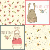 Set a happy Easter greeting card with cute bunny. Royalty Free Stock Image