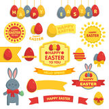 Set of Happy Easter ornaments and decorative elements. Stock Image