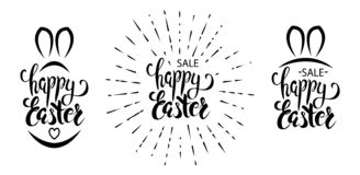 Set of happy easter vector lettering royalty free illustration