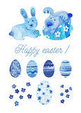 Set Happy Easter watercolor. Set of hand drawn Easter's watercolor. With differents motifs in blue tones Stock Illustration