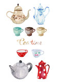 Set teapot and cups watercolor. Set of hand drawn Tea time watercolor : teapot, cups, dots Stock Illustration