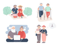 Set of happy elderly couple. Grandparents in different situations collection. Active lifestyle of old people. Colorful Royalty Free Stock Images