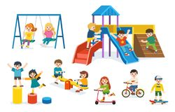 Set of Happy excited kids having fun together. Children playing in playground. Colorful isometric playground elements set with Kids stock illustration