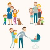 Set of happy families with kids and pets. vector illustration