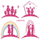 Set of happy family icons. Symbol of wedding. Family house. Pregnancy and parents with doughter and son Stock Photos