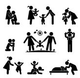 Set of happy family icons. Vector pictogram illustration. Royalty Free Stock Photos