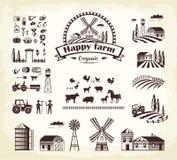 Set of Happy Farm Organic Production Cartoon Style Royalty Free Stock Photography