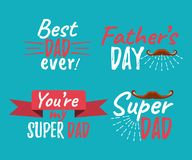 Set of Happy Father`s Day banner and giftcard. Best Dad Poster S. Ign on Background. Vector Illustration Royalty Free Stock Photo