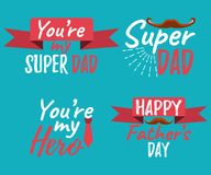 Set of Happy Father`s Day banner and giftcard. Best Dad Poster S. Ign on Background. Vector Illustration Royalty Free Stock Photography