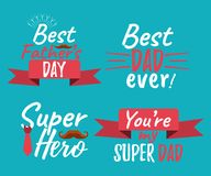 Set of Happy Father`s Day banner and giftcard. Best Dad Poster S. Ign on Background. Vector Illustration Royalty Free Stock Photos