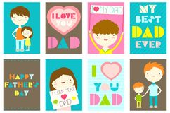 Set of Happy Father`s day greeting cards Stock Photos