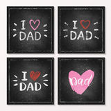 Set of Happy Fathers Day Cards - hand drawn chalk letter on chalkboard. Set of Happy Fathers Day Cards - hand drawn chalk lettering on chalkboard, I love Dad Stock Photos