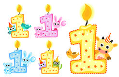 Set Happy First Birthday Candle and Animals Isolated on white background. Vector illustration Royalty Free Stock Image