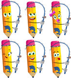 Set of happy fisher pencils Royalty Free Stock Image