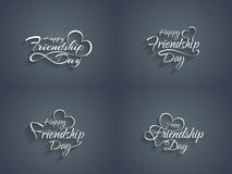 Set of happy friendship day text design element. Royalty Free Stock Photography