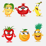 Set of happy fruit cartoon characters. Stock Photos