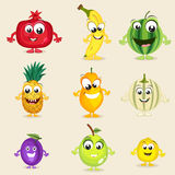 Set of happy fruits characters. Royalty Free Stock Image
