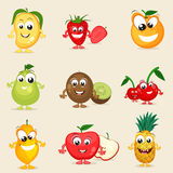 Set of happy fruits characters. Stock Photo