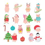 Set of happy and funny pigs on white background royalty free illustration