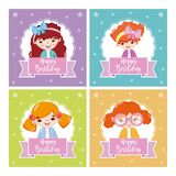 Set of happy girls birthday cards. Collection vector illustration graphic design vector illustration