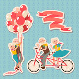Set Happy Grandparents Day. Grandmother and  grandfather riding on a tandem bicycle, flight on balloons. Enjoying life. Anniversary Stock Photography