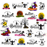 Set Of Happy Halloween Badges and Labels Royalty Free Stock Photos