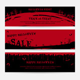 Set of happy Halloween banners background in spooky red graveyard Royalty Free Stock Photos