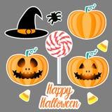 Set Happy Halloween design. Flat Jack pumpkin lantern. Vector illustration on a gray background. Set Happy Halloween design sign. Jack pumpkin lantern. Vector Stock Illustration