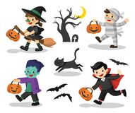 Set of Happy Halloween. Funny children in colorful costumes. Set of Happy Halloween. Funny children in colorful costumes and a cat. zombie, mummy, witch stock illustration