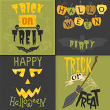 Set of happy halloween greeting card vector illustration party invitation design with spooky emblem. Typographic evil template greeting graphic cover design royalty free illustration