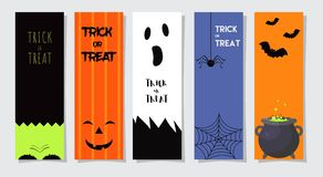 Set Of Happy Halloween Greeting Cards or Flyers. Vector Illustration. Party Invitation Design with Emblem. Set Of 5 Happy Halloween Greeting Cards or Flyers Royalty Free Stock Image