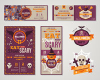 Set Of Happy Halloween Greeting Cards or Flyers Stock Photography