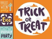 Halloween party celebration holiday brochure invitation cards vector illustration Royalty Free Stock Photos