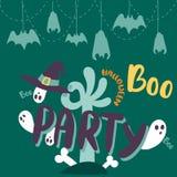 Halloween party celebration holiday brochure invitation cards vector illustration Stock Photos