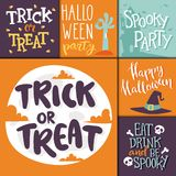 Halloween party celebration holiday brochure invitation cards vector illustration Royalty Free Stock Images